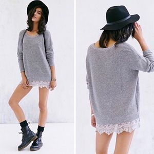 Pins & Needles • Grey Lace Sweater Small